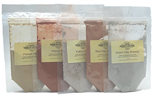Clay Sampler - 5oz (Five 1 oz packages) Soap Making Supplies. French green clay, French yellow clay,Fullers earth, Morocco red clay French red clay,