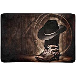 "InterestPrint Vintage American Western Cowboy Hat and Boot Doormat Anti-Slip Entrance Mat Floor Rug Indoor/Outdoor/Front Door Mat Home Decor, Rubber Backing 23.6""(L) x 15.7""(W)"