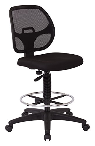 Office Star Deluxe Mesh Back Drafting Chair with 20'' Diameter Adjustable Footring, Black Fabric Seat by Office Star