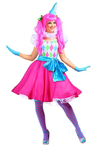 Cotton Costume Candy Clown (Cotton Candy Clown Womens Costume -)