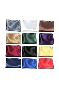 Junong Men Silk Handkerchief Solid Color Pocket Square Plain(Multicolor)