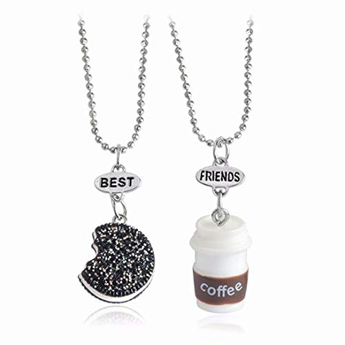 TMROW 2pcs/Set Kids Necklace Coffee Cup and Oreo Cookies Pendant Best Friends Necklace
