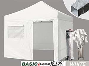 Eurmax 10 x 10 Pop up Canopy Outdoor Party Tent Gazebo +4 Zipper End Walls+ Roller Bag+ Bonus Awning