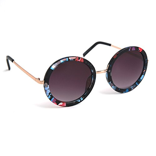 JOOX Fashionable Sunglasses with Round Frame and 100% Uv Protection Lens (Shiny flower pattern/Smoke gradient, - Sunglasses Flower Round