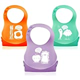 3 Pack Soft Silicone Roll up Baby/Toddler Bibs Designed By Monkey Loves Tom
