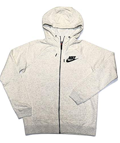Nike Women's Sportswear Rally Full-Zip Hoodie (Oatmeal Heather, Small)