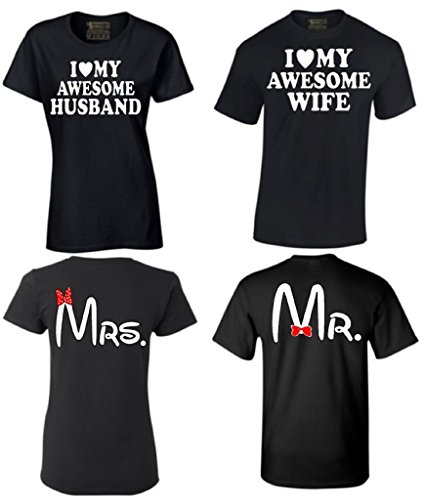 9e81afcf12 Couple Shirts I Love My Awesome Husband Wife Mr & Mrs Matching Couples T- shirt Men XX-Large/ Ladies Medium: Amazon.ca: Clothing & Accessories