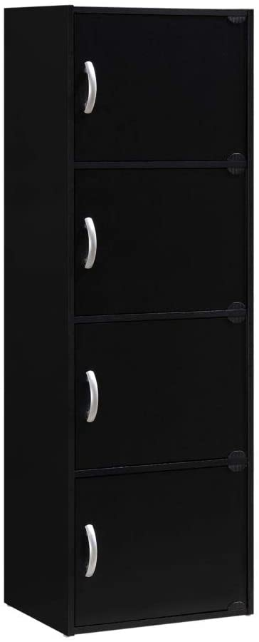 HODEDAH IMPORT 4-Shelf Bookcase Cabinet, Black