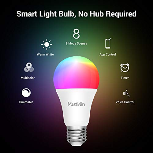MustWin 9W WiFi LED Bulb E26 Smart Bulbs Alexa, A19 Multicolor Color Changing Bulb, RGB+Warm White, Work with Siri,Alexa, Google Home (No Hub Required)