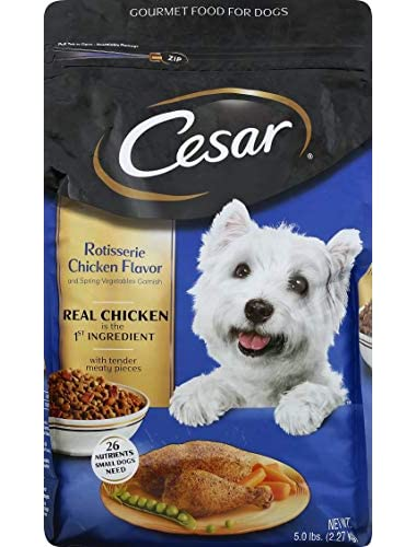 Cesar Rotisserie Chicken Flavor Dry Dog Food (With Spring Vegetables Garnish, Small Breed, 5 Lb), One Size