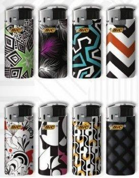 Bic Mini Lighters (Bic Mini Jr Lighters Black & White 50 Pieces Per Tray Electronic Push Button