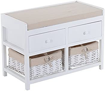 HomCom 2-Drawer 2-Basket Padded Bench