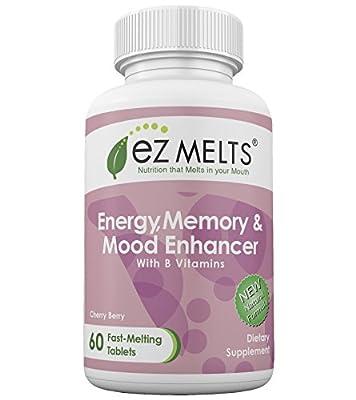 EZ Melts Energy Memory & Mood Enhancer, Dissolving Vitamins, Zero Sugar, Natural Cherry Flavor, 60 Fast Melting Tablets, B-Vitamin Supplement