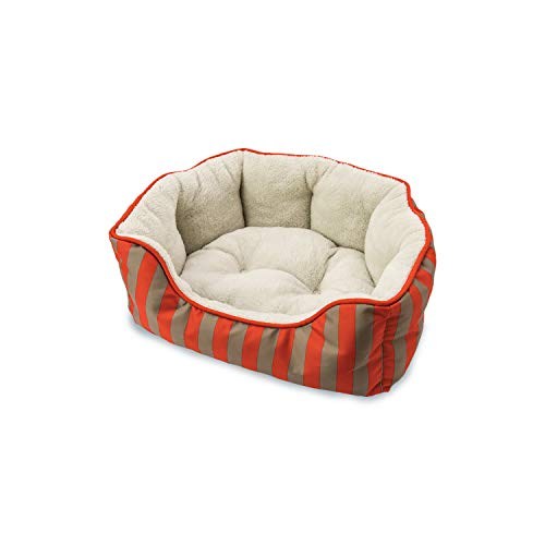 (Sleep Zone Cabana Stripe Scallop Lounger, Cuddler, Napper Dog Bed - Fabric Bottom - 24X20 Inches / Orange / Attractive, Durable, Comfortable, Washable. By Ethical Pets)