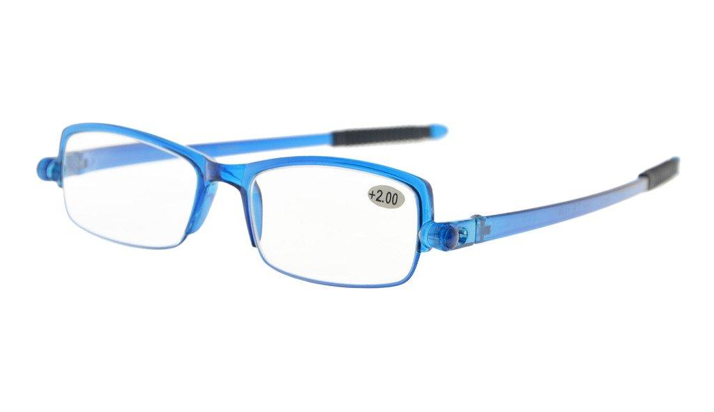Eyekepper 360/° occhiali da vista templi pieghevole con donne uomini cassa trasparente Cornice Blu, 2.50