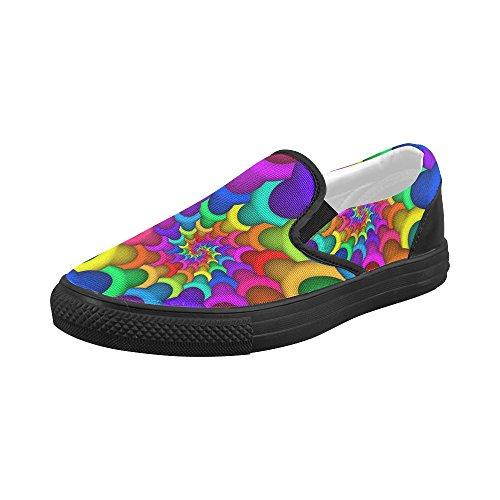Artsadd Psykedelisk Rainbow Spiral Tilpasset Slip-on Canvas Sko For Kvinner  Model019 Multi Color4