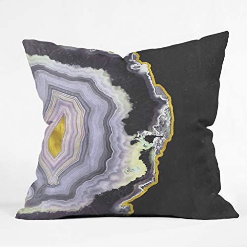 Deny Designs Black and Gold Agate Throw Pillow, 26 x 26