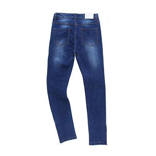 WanYang Pantalones Mujer Cintura Alta Vaqueros Elástico Cremallera Decoración Skinny Denim Slim Jeans Apretado Azul