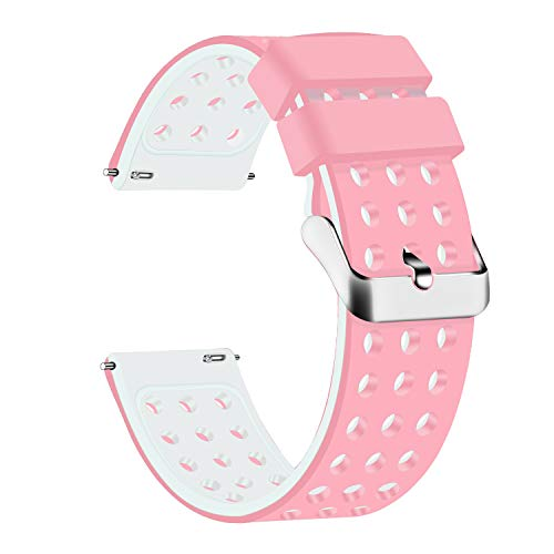 Lwsengme Silicone Quick Release - Choose Color & Width (18mm, 20mm,22mm) - Soft Rubber Watch Bands (Pink/White, 22mm)