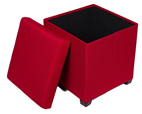 (BIRDROCK HOME Folding Storage Ottoman with Legs | Upholstered | 16 x 16 | Linen | Strong and Sturdy | Quick and Easy Assembly | Foot Stool | Red)