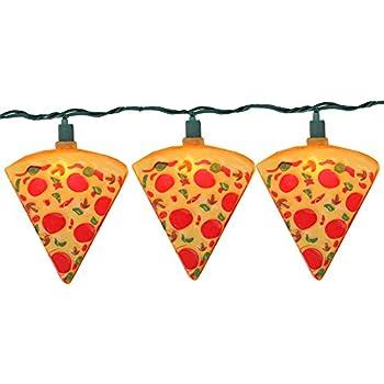 Kurt Adler 10-Count Orange Pizza Slice Garden Patio Christmas Light Set, 10ft Green Wire