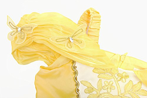 Loel Girls Princess Belle Costume Drop Shoulder Dress up