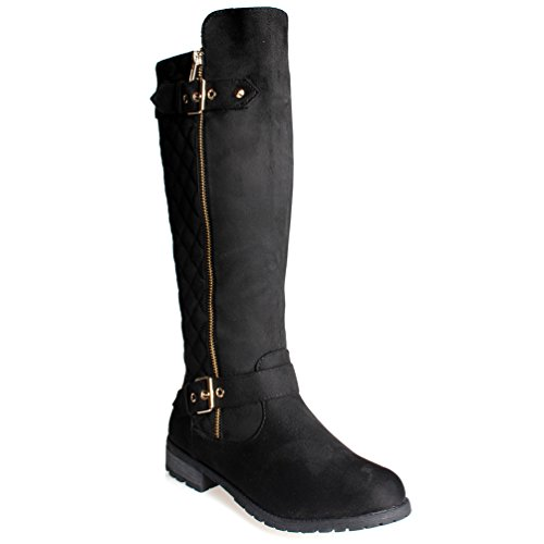 Black Accent Flat (Women's MG23 Winkle Back Shaft - Side Quilted Zipper - Knee High Flat Accent Riding Boots Black SU)