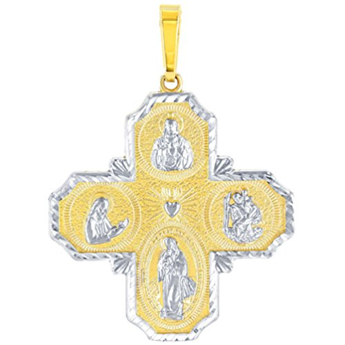 14K Yellow Gold Four Way Cross Charm I Am Catholic Please Call A Priest Pendant with Texture Cut Reversible Cross Pendant