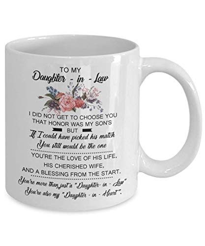 HL HLPPC to My Daughter-in-Law White 11oz Mug Unique Ceramic Coffee/Tea/Cocoa Mug Great Office & Home Tea Cup Gift for Coffee & Tea Lovers Cool Birthday Best Souvenirs