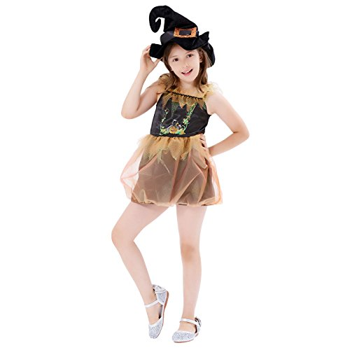 Twinkle Pumpkin Witch Princess, Girls Halloween Costume, Masquerade Party Suits Role Play & Dress Up, 2Pcs (top with skirt, hat) (Dress Up Pumpkin Halloween)