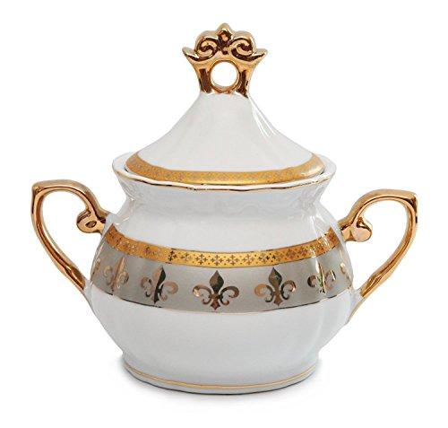 Royalty Porcelain 15pc Fleur-de-Lis Tea Set, Service for 6, 24K Gold-Plated Bone China Tableware by Royalty Porcelain (Image #5)