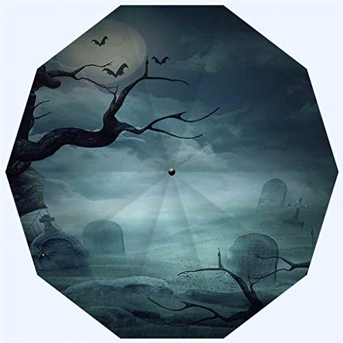 Fashion Travel Umbrella Sun Umbrella UV protection automatic opening and closing, Halloween Design Spooky Graveyard, windproof - rainproof - men - ladies - versatile - 42 -