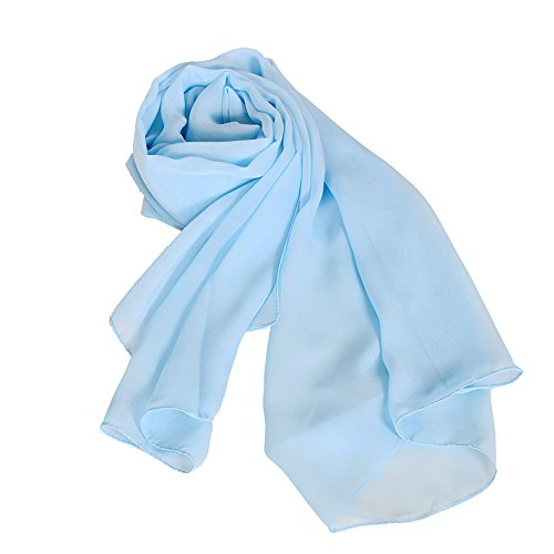 Blue Chiffon - MATCH MUCH Chiffon Scarf Solid Colors Wrap Shawl-26 Colors(Light Blue)