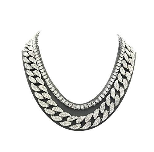 Pyramid Jewelers Mens Iced Out Hip Hop Silver Tone CZ Miami Cuban Link Chain Choker Necklace (1 Row CZ & CZ Cuban 18