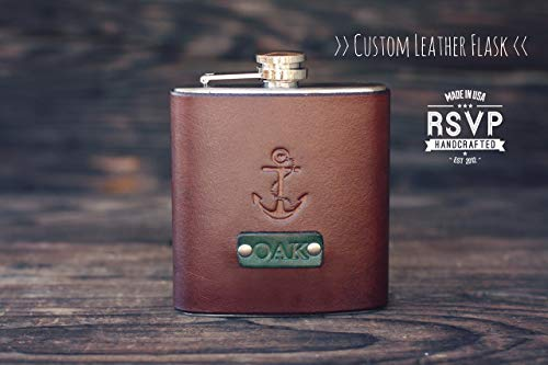 (Custom Leather Flask, Handmade personalized gift for your boyfriend, Groomsman, husband, best man. Anchor. Nautical. Pick Initials,)