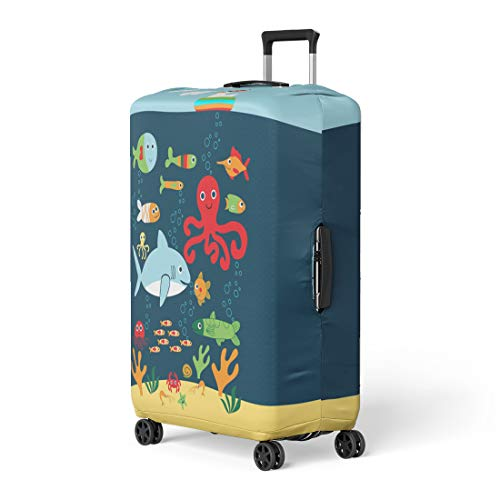 (Pinbeam Luggage Cover Colorful Shark Marine Life Creatures Underwater Animals Crab Travel Suitcase Cover Protector Baggage Case Fits 26-28 inches )