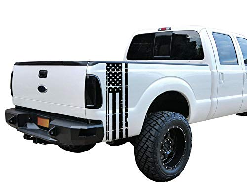 Gloss Black Universal Distressed American Flag Vinyl Decal Set: Fits Any Dodge Ram Ford Chevy Nissan Toyota