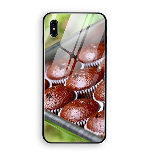 Fruitcake Chocolate Batch Form iPhone X Case, Tempered Glass Hard Back Cover with Soft TPU Bumper Edge Protection Support Wireless Charging