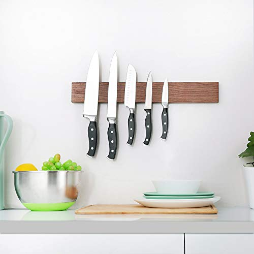 Walnut Magnetic Knife Holder 18 Inch - Wall Mount Wooden Knife Strip, Rack, Bar With Double Row Powerful Magnets, Space-Saving Utensil Organizer by KitchenShark (Image #5)