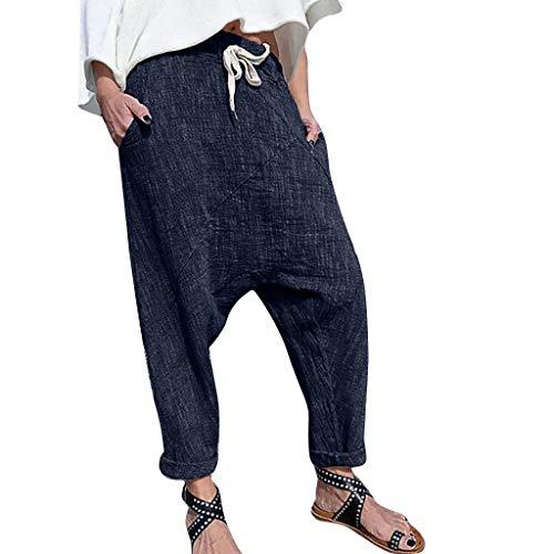 Women Cotton Linen Pants Plus Size Pure Color Pocket Wide Leg Drawstring Trousers Navy]()