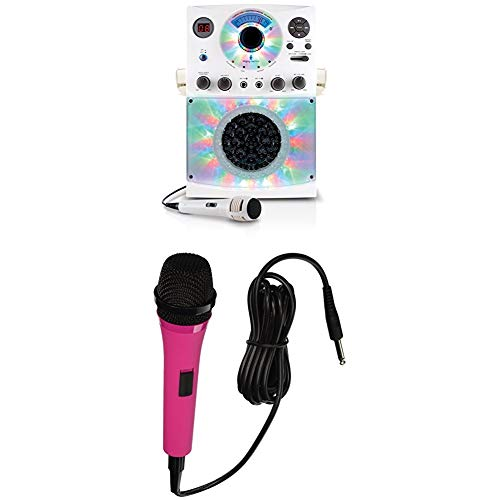 Singing Machine Karaoke SML385BTW (White) Bundle with Pink Microphone