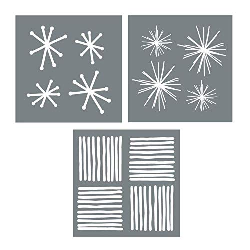 Starburst Stencil Set - 3 Large Wall Stencil Sheets to Stencil Wall Paper - Create Beautiful Statement Walls with DIY Wall Stencils - Stencil Wall with a Modern Wall Stencil - Fun Shape Stencils