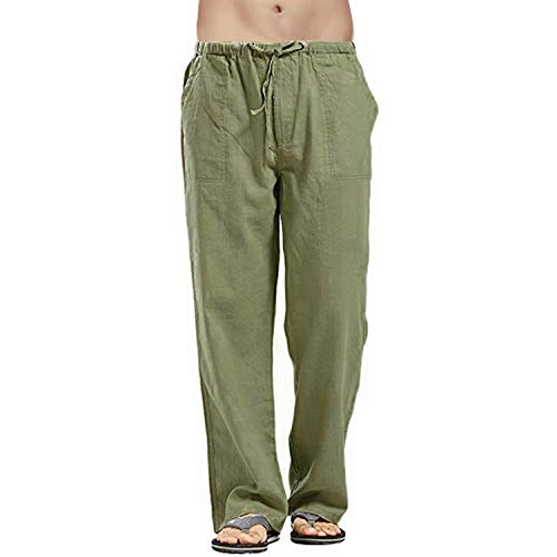 xiaoxiaoland Mens Smart Casual Cotton Trousers Pants Elasticated Waist Drawstrings Drawcord Loose Fit Army Green