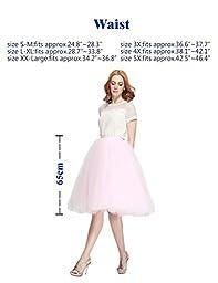 Nemobridal Women\'s 7 Layer Short Elastic Waistband Tutu Princess Tulle Midi Skirt L/XL Lilac