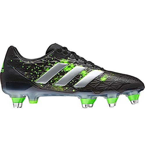 (Mens Adidas adipower Kakari SG Soft Ground Rugby Studs Boots Black Green BA9035)