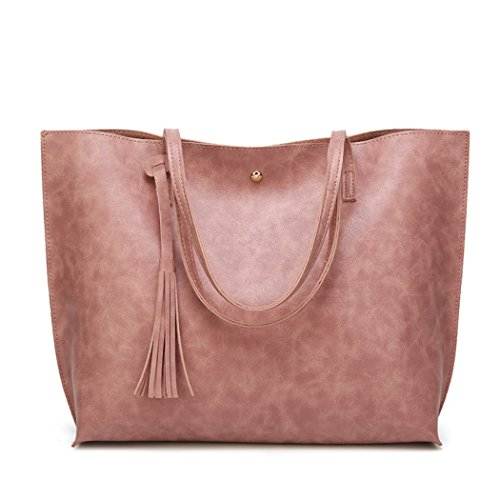 - Nodykka Women Tote Bags Top Handle Satchel Handbags PU Pebbled Leather Tassel Shoulder Purse,One Size,Wax Pink