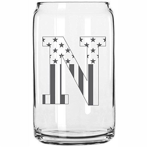 N-Monogram- Engraved Beer Can Glass- USA Flag Design- 16 Ounce Capacity