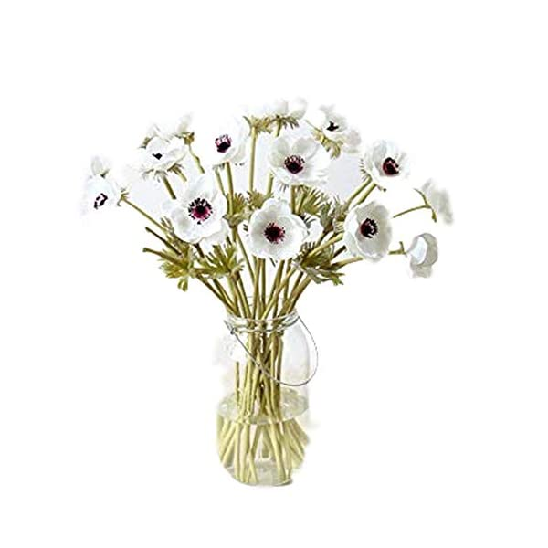 CN-Culture 10Pcs Artifical Real Touch PU Anemone Flower Bouquet Room Home Decor (White)