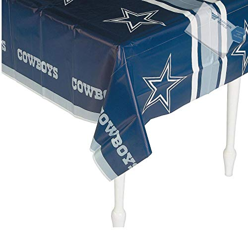 Bargain World Plastic Dallas Cowboys Tablecloth (With Sticky Notes) -