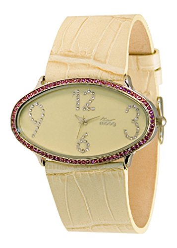 Moog Paris Egg Women's Watch with Beige Dial, Beige Genuine Leather Strap & Swarovski Elements - M44142-007